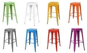 Detroit Lacquered Industrial Metal Bar Stools Available In A