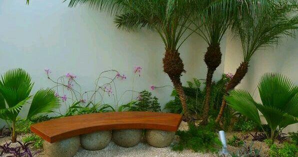 Jardin lleno de piedras blancas palmeras y vanca de for Jardines de piedras blancas