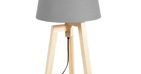 lampe tr pied en bois et abat jour en tissu gris d co pinterest lampes gris et tissu gris. Black Bedroom Furniture Sets. Home Design Ideas