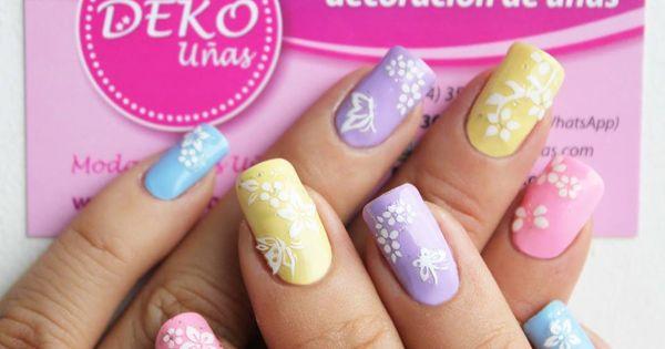 nail art flores y mariposas pastel nail art deko u as. Black Bedroom Furniture Sets. Home Design Ideas