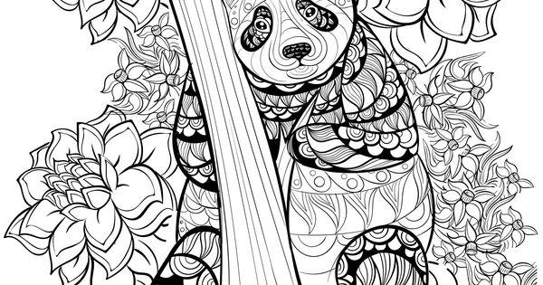 Un joli panda entour de fleursA