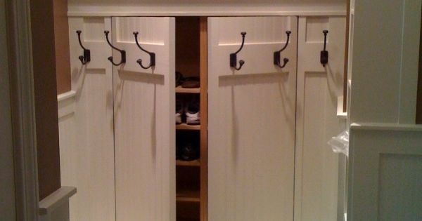 Mudroom Hidden Storage : Hidden shoe rack storage behind coat great idea for