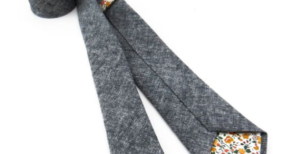 Charcoal Chambray Necktie by FoxandBrie on Etsy, $68.00