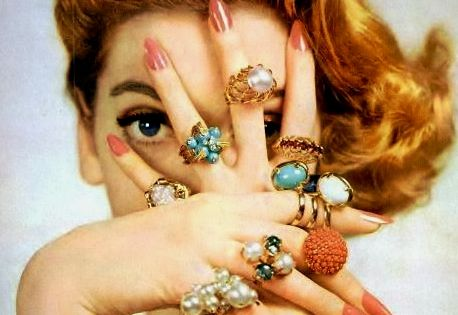 Vintage rings- the perfect accessory to hide behind.