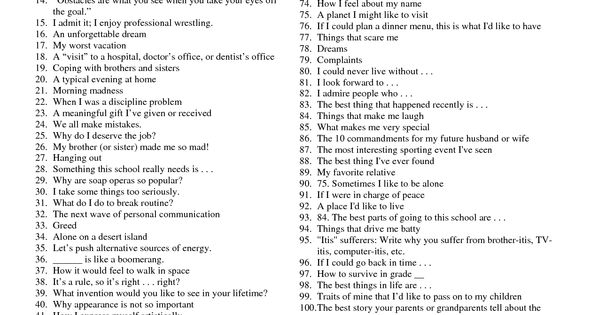 100 writing topics I've created 100+ writing prompts to get you writing more, faster take some time to explore the categories and pick the right prompt for you and your story then, bookmark this page for future projects okay, let's get started header free book books recent.