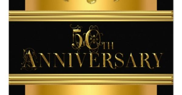 50th Anniversary Party Elegant Gold Black Golden ...