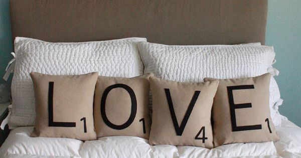 cute pillows! it'd be fun to have letter pillows in a family