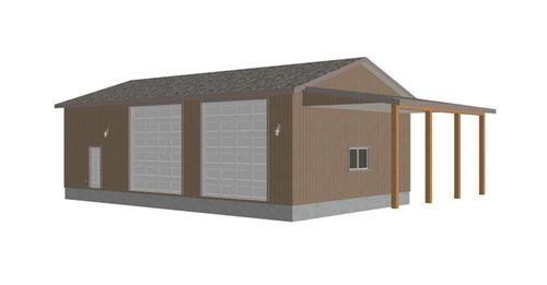 G393 30 x 50 x 14 detached rv garage plans pdf pole for Rv garage plans with living quarters