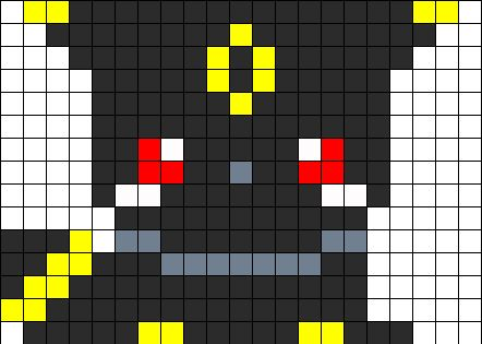 Baby umbreon perler bead pattern bead sprite perler for Umbreon pixel art template