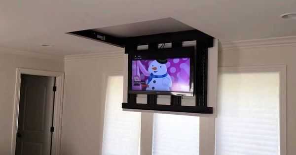 Motorized fully automated flip down ceiling tv lift 46 60 for Motorized retractable projector screen