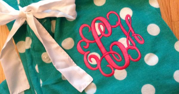Monogrammed Pajama Pants - Teal and white polka dots. $20.00, via Etsy.---good