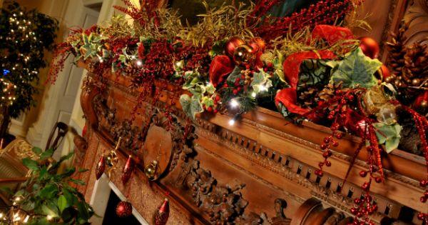This Christmas Mantel Is Stunning Christmas Decorating And Lighting Jobs Holiday Decor Christmas Christmas Decorations Christmas Mantels