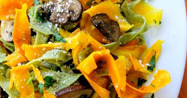 Butternut Squash Ribbons with Spinach Tagliatelle | Recipe ...