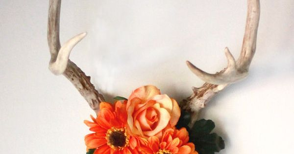 Antler Wall Art In Tangerine Crafts Pinterest Be