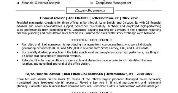 Financial Advisor Resume Sample -    resumesdesign - financial planning manager sample resume