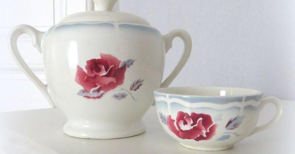 sucrier et tasse en fa ence de digoin sarreguemines mod le al sia vaisselle digoin. Black Bedroom Furniture Sets. Home Design Ideas