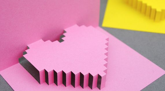 DIY pixelated heart valentines day card