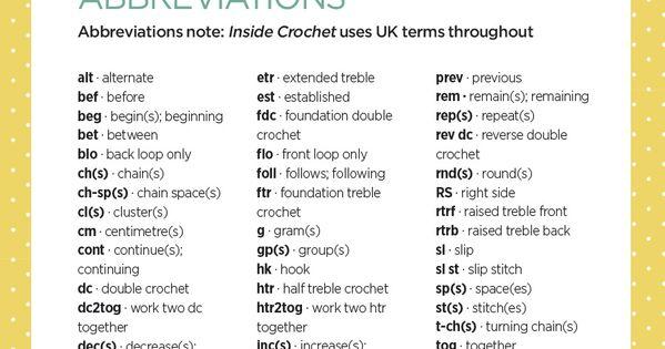 Crochet abbreviations, Crochet and Free charts on Pinterest