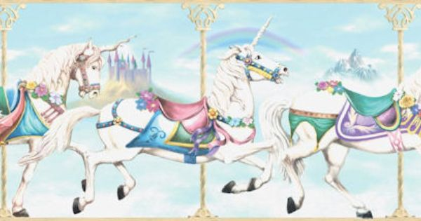 Carousel Blue Border Horse Nursery Theme Kids Wall Decor Unicorn Room Decor