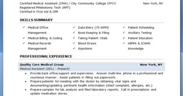 Medical Assistant Resume With No Experience Http