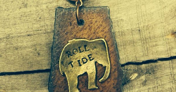 Beautiful Steel Roll Tide Alabama Brass Elephant necklace on Etsy, $32.00