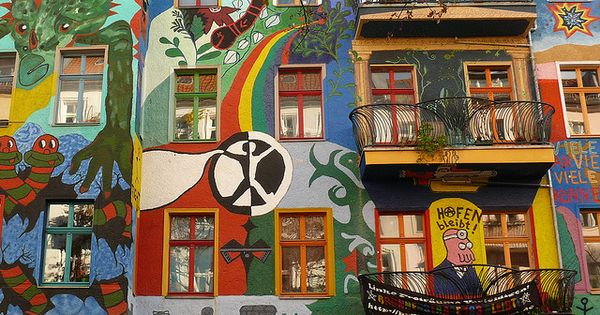 Street art. Berlin, Germany, graffiti house