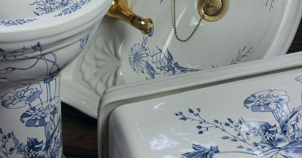 B C Sanitan Blue Floral Bathroom Suite Home Pinterest