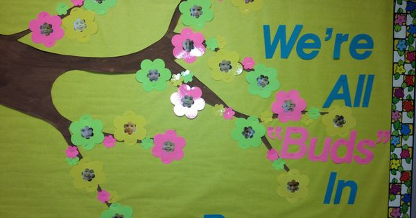 Classroom Tree Ideas ~ A cute bulletin board for spring we took pictures of