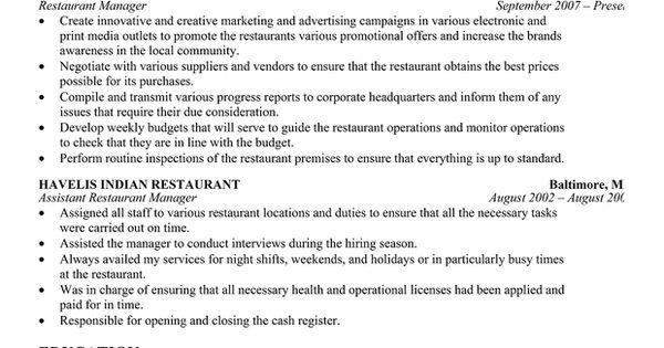 Restaurant Manager Resume Template