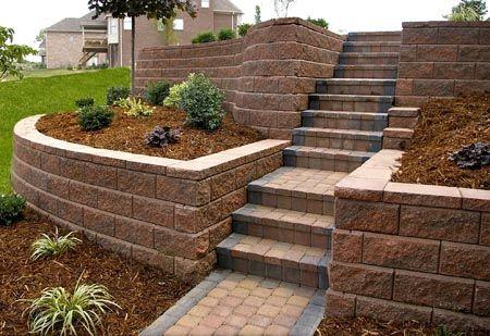 Terraced Retaining Walls W Steps Yelp Sloped Backyard