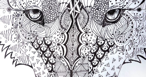 Zentangle Wolf By Lupinemoonfeather.deviantart.com On