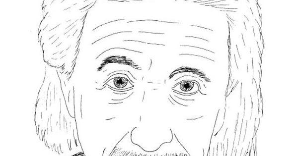 Albert Einstein Staring Coloring For Kids Figure cartoon