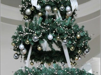 Hanging Christmas Tree - WREATH CHANDELIER. WHAAAAAAT?!?! This must happen. If I