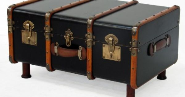 Vintage Travel Trunk Made Into Table Dark Event Prop