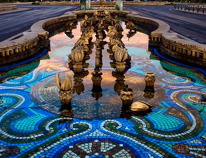 Mosaic tile water feature in Bucharest, Romania