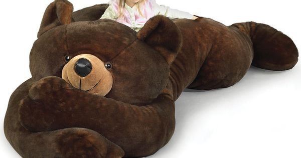 "BWAHAHAHA!!!! ""Cuddle up with this gratuitously large and fluffy grizzly bear. At"