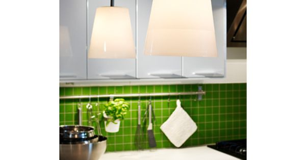 Basisk pendant lamp nickel plated white the price for Ikea article number