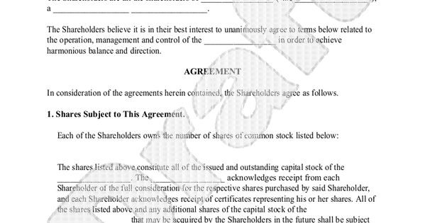 Investors Agreement - Investor Contract Agreement (Form With - shareholder agreement