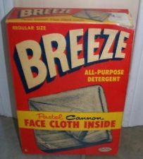 1950s Vintage Breeze Powder Laundry Detergent Box Cannon Face