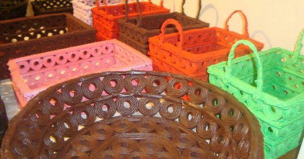 Cestas de papel periodico saskiak pinterest cesta de - Cestas de papel periodico ...