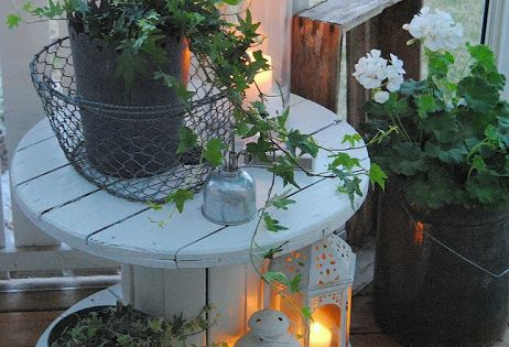 Cable Spool as a side table for out side cool