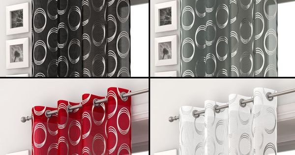 Silver Circles Voile Curtain Panel Ring Top Eyelet Net Black White Grey Red Voile Curtains