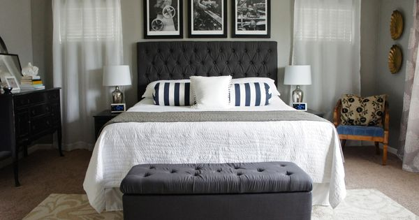 Bedroom, Chic Gray Bedroom Decoration With Elegant Bed With Tailored Headboard For Small Master ...