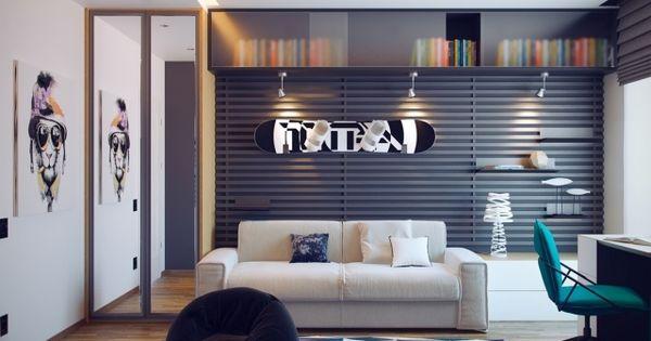 jugendzimmer f r einen jungen in grau und wei. Black Bedroom Furniture Sets. Home Design Ideas