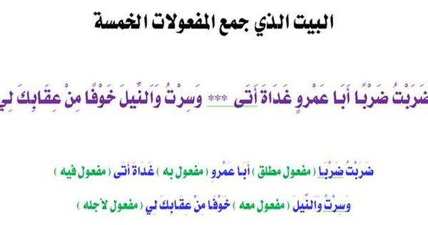 البيت الذي جمع المفعول الخمسة Learning Arabic Education Math