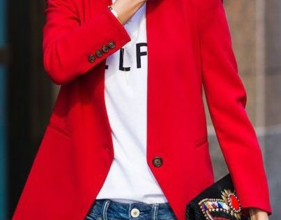 Casual yet chic! And I especially love the red blazer!