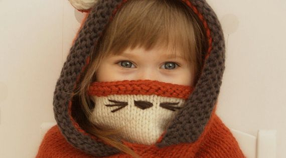 Knit fox hood cowl Rene - PDF knitting pattern - in baby, toddler, child and ...