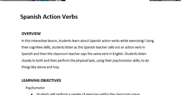 In this interactive lesson, students learn about Spanish action - what is an action verb