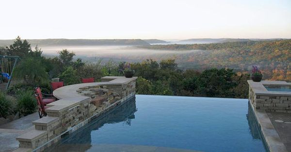 Natural Stone - Stunning Infinity Edge Swimming Pools on HGTV....like the chairs