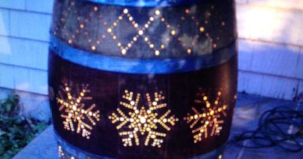 Whiskey Barrel Lighting Idea Backyard Garden Pinterest